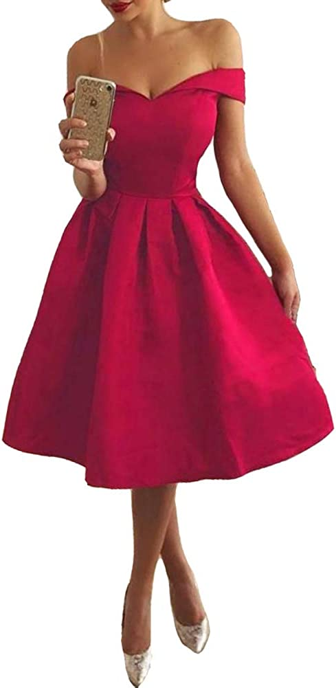 Lemai Short Satin Off The Shoulder Simple Corset Prom Homecoming Dress with Sash