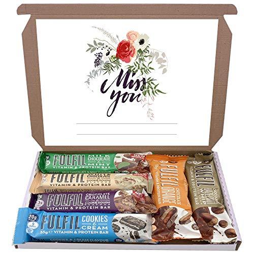 Fulfil Protein Bars & Vitamins Chocolate 6x60g Gift Box Hamper Snack Low Sugar Carbs Fulfill Bar (Miss You)