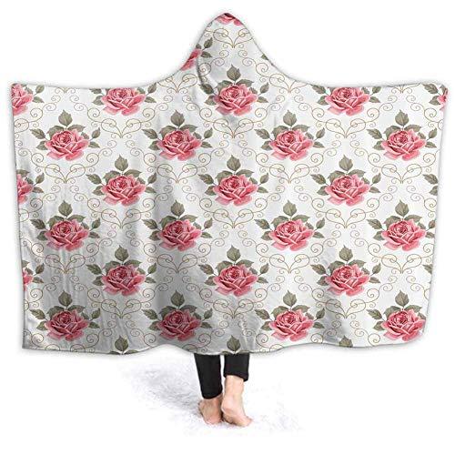 Timdle Sherpa tragbare Decke Poncho für Erwachsene Frauen M?nner Romantisches Sprichwort Design warm, weich, gemütlich, kuschelig, Komfort Geschenk, Keine ?rmel 60W von 50H Zoll (mit Kapuze)