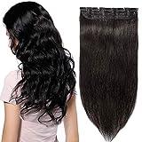 Extension a Clip Cheveux Naturel Rajout Monobande Une Pièce 100% Cheveux Humain Vrai Cheveux Remy #1B Noir Naturel - 60 cm (60g)