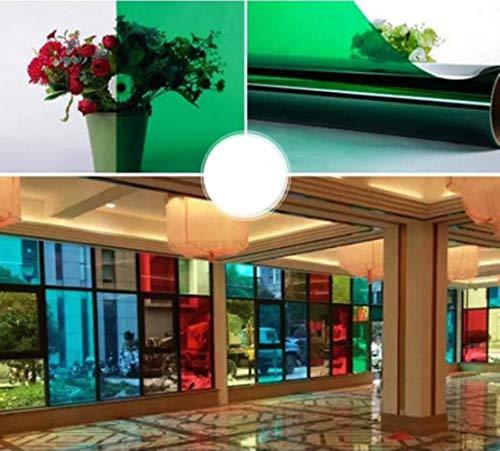 HUIHU Color Glass Película Decorativa Shop Mall KTV Pegatinas para puertas correderas Película autoadhesiva para ventanas Aislamiento Transparente Celofán, Verde, 40x100cm