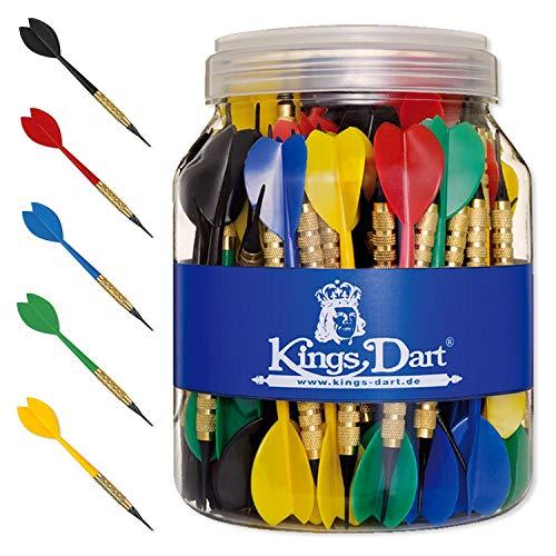 Kings Dart Softdartpfeile-Set | 100 robuste Dartpfeile für elektronische Dartscheiben | 100% Messing-Barrel, Longlife-Spitzen, Flights u. Schaft aus Kunststoff | 16g | L: 15 cm | Bunt