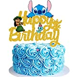 Lilo and Stitch Cake Topper - Happy Birthday Lilo and Stitch Decors for Kids Birthday Party Baby Shower Cartoon Sign Decorations (Golden Glitter & Double-side)