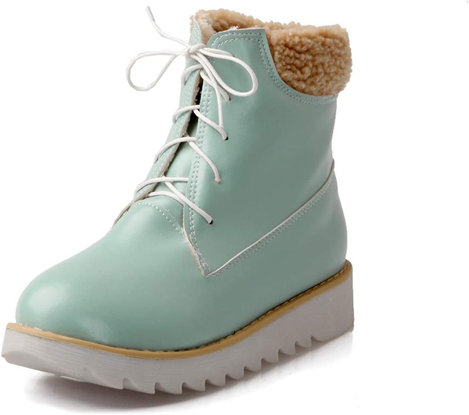 Women's Snow Boots, Chunky Heel Round Toe Knee Boots Ladies Front Tie Flanging High Help Fashion Boots (color   C, Size   38)
