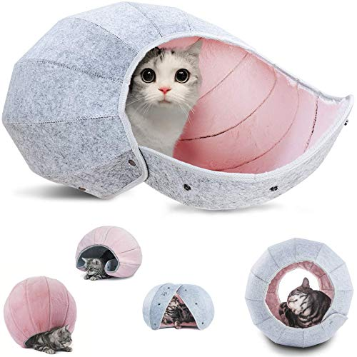 K·1 Cat Toy Balls, Indoor Cat Tunnel Tube Interactive 8 in 1 Bed Cave Condos, Portable & Foldable Multi-Function Scratch Resistant Fun Toy (Pink)