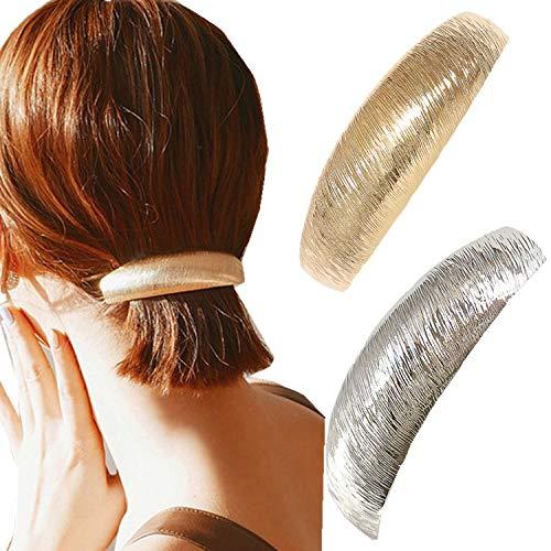2pcs Pince à cheveux de support de queue de cheval de bande en métal d'or argenté de femmes de cru, accessoires de pinces de ressort