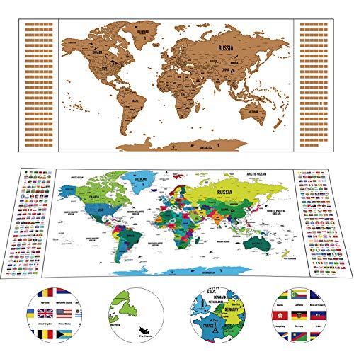 Weltkarte zum Rubbeln als schöne Erinnerung an Reisen Deluxe Personalisierte Weltkarte Poster Weiß Rubbel Landkarte Geschenkverpackung 94 x 40 cm