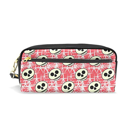 Chic Houses Cute Skull Cosmetic Bag Stationery Pencil Pouch Red Background Cartoon Style Wash Pouch Travelling Portable for Student and Women 2030026