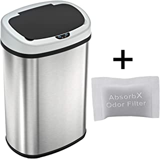 iTouchless 13 Gallon SensorCan Touchless Trash Can with Odor Control System, Stainless Steel, Oval Shape, Kitchen Bin