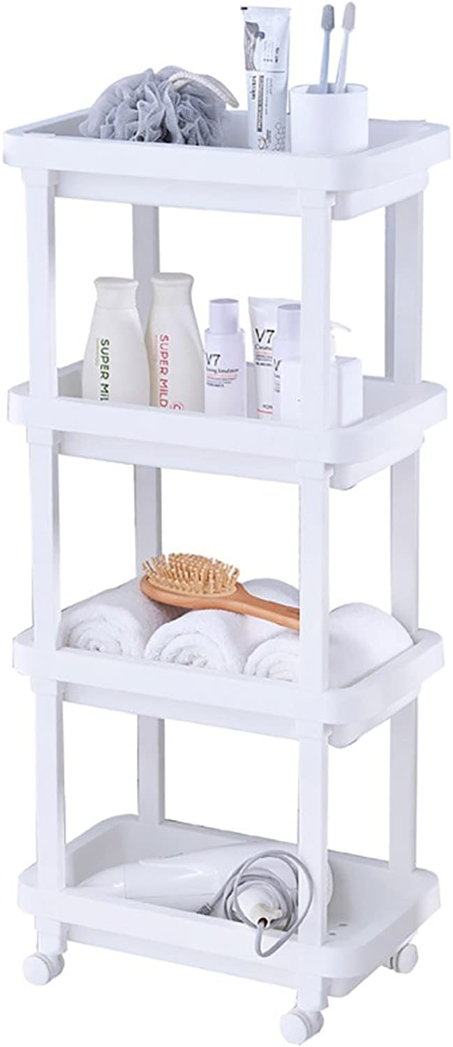 4 Tier Slide Out Kitchen Trolley Rack Storage Organiser Moving Wall Cabinets Tower Holder Bathroom Shelf with Wheels