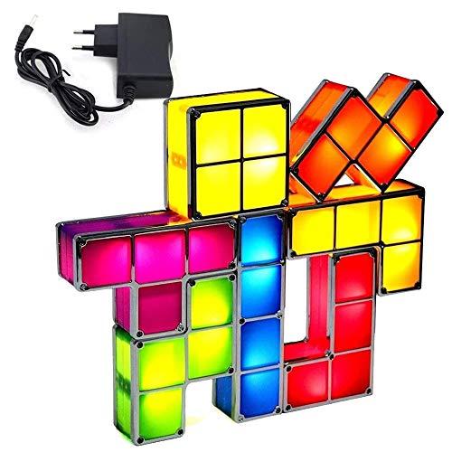 3D Tetris stapelbares Nachtlicht, Tetris Lampe stapelbare LED Tischlampe, 7 Farben Induktionsverriegelung Schreibtischlampe, DIY Magic Blocks Puzzles Spielzeug für Kinder Schlafzimmer Wohnkultur