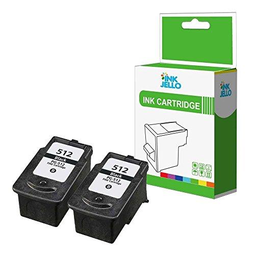 InkJello Wiederaufbereitete Tinten patrone für Canon Pixma iP2700 iP2702 MP230 MP235 MP240 MP250 MP252 MP260 MP270 MP272 MP280 MP282 MP330 MP480 MP490 MP492 MP495 MP499 PG512 (Schwarz, 2 Stück)