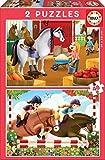 Educa- Cuidando Caballos 2 Puzzles de 48 Piezas, Multicolor (17150)
