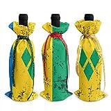 Rétro drapeau de Saint-Vincent-et-les Grenadines sacs de bouteille de vin de noël 3 pièces de noël avec des couvertures de cordons pour la Table de fête D