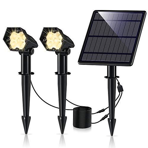Leolee Solar Gartenleuchte, 2 Stück 300LM Solarstrahler LED Solarlampen für Außen mit Ultrahelle 3 Helligkeitsstufe IP66 Wasserdicht Wegeleuchte Wand 6000K Solarleuchte für Bäume, Sträucher (Warmweiß)