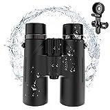 FIZZOptics HD 10x42 Binoculars with Phone Adapter, Nitrogen-Filled IPX7 Waterproof, BAK4 16.5mm, FMC Lens with 18mm Eyecups, Compact Binocular with Low-Light Vision, Sharp Image