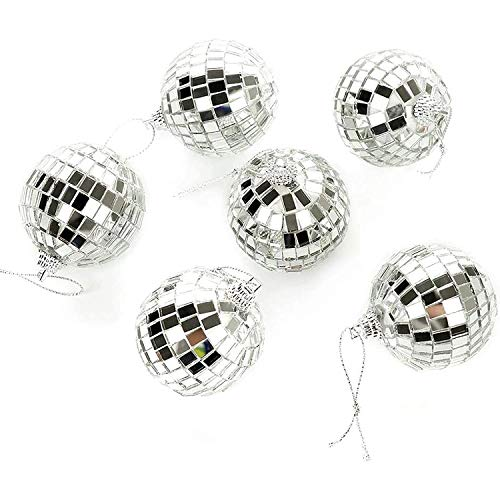 24 pcs 1.8 Inch Disco Ball Mirror Party Christmas Tree Ornament Decoration with Fastening Strap - Bright Reflective Mirror Disco Ball - for Holiday Wedding Party Dance and Music Festivals Decoration