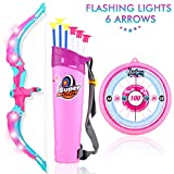 MagicWe Bow and Arrow Toy Set for Kids with LED Flash Lights Archery Bow with 6 Suction Cups Arrows Target Indoor Outdoor Toys Garden Practice Hunting Game Boys Girls Age 3 Years and Up (Pink)