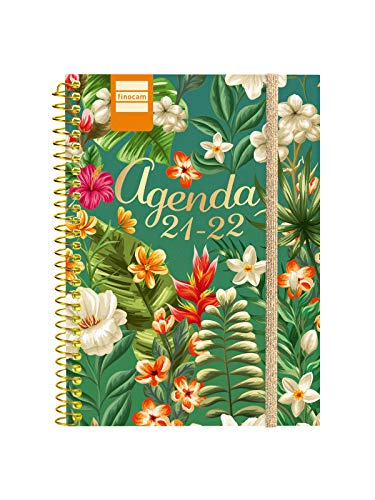Finocam Agenda 2021 2022 Semana vista apaisada Septiembre 2021, Junio 2022 10 meses y Julio/Agosto resumidos 8º, 120x164 Secundaria Tropical Español
