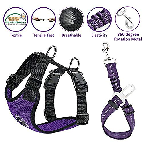 Lukovee Dog Safety Vest Harness with Seatbelt
