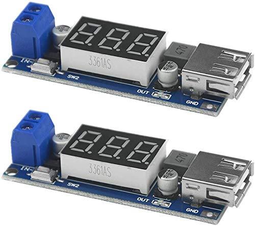 ZHITING 2 pièces Convertisseur de Tension Buck DC-DC 6.5-40V à 5V 2A Module de régulateur de Tension de stabilisateur de transformateur de Tension abaisseur