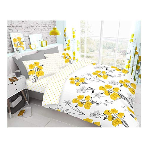 Gaveno Cavailia Luxurious Poppy Bed Set with Duvet Cover and Pillow Cases, Polycotton, Yellow, Double
