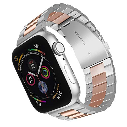 ARTCHE Sportarmband für Apple Watch Edelstahl Ersatzarmband Verstellbar Armband Gürtel kompatibel mit iwatch Serie 1 2 3 4