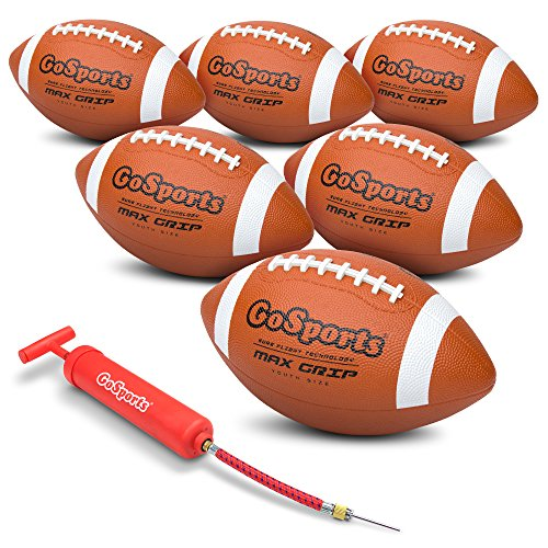 GoSports Rubber Footballs – 6 Pack of Youth Size Balls with Pump & Carrying Bag