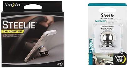 Nite Ize Original Steelie Dash Mount Kit - Magnetic Car Dash Mount for Smartphones Bundle with Nite Ize Original Steelie D...