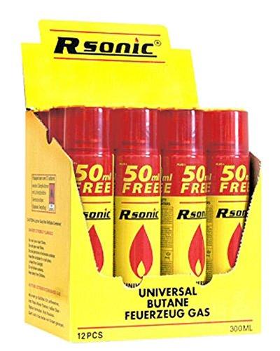 RSonic 12x 300ml Universal Feuerzeuggas Rsonic Feuerzeug Butan Gas Nachfüll Refill Mehrfarbig