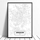 Leinwanddruck,Jerusalem Schwarz Weiß Benutzerdefinierte