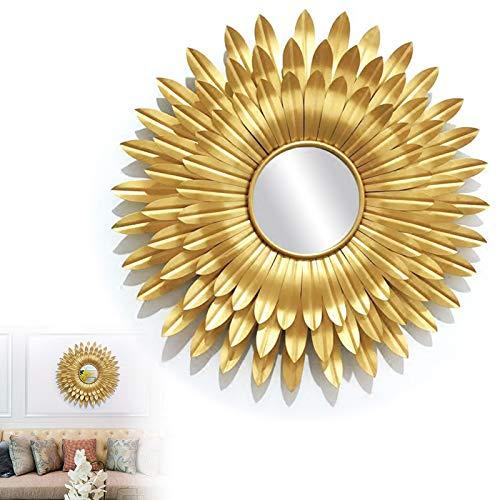 60cm Espejos Sunburst para Decoración de Paredes Gold, Espejo Sol Dorado con Marco de Metal de Flores, Espejos del Cuarto de Baño de La Decoración Casera