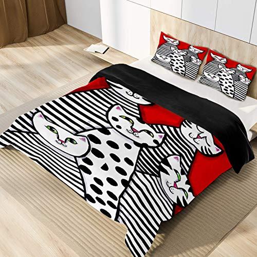 Cat Microfiber 3pcs Bedding Duvet Cover Set, Queen Size, Soft and Breathable with Zipper Closure & Corner Ties for Men Women Kids Teens