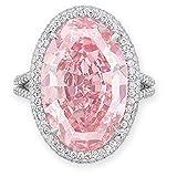 Goddesslili Pink Diamond Rings for Women Ladies Girlfriend, Exquisite Geometric Oval Goose Egg Design Retro Wedding Engagement Anniversary Luxury Jewelry Gift, 2019