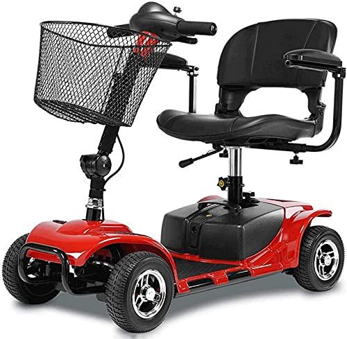 Scooter eléctrico plegable y vehículos eléctricos de cuatro ruedas para la capacidad de transporte de 100 kg discapacitados para compras y reposabrazos de fácil estacionamiento que se puede abrir, 1