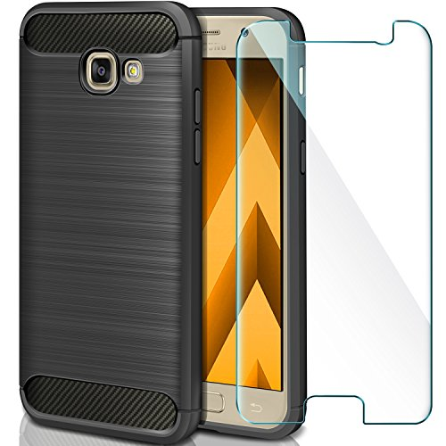 AROYI Coque Samsung Galaxy A5 2017 + Verre trempé écran Protecteur, Coque Silicone Etui Housse + Film Protection d'Écran en Verre Trempé pour Samsung Galaxy A5 2017 5.2''- Noir