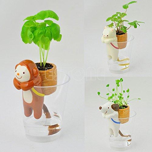 Intérieur animal mignon Arrosage Flowerpot Avec Paille Pot Home Office Garden Self Decor New