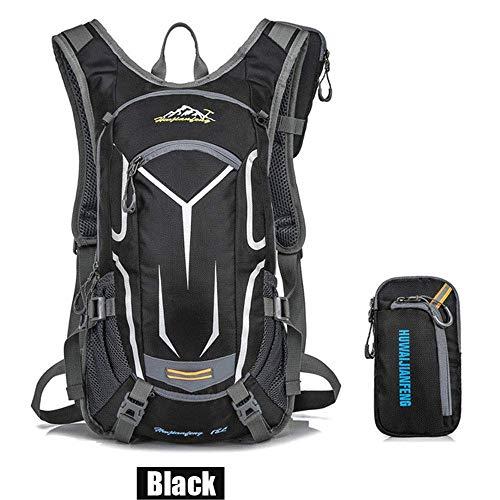 Sac à dos de vélo 18L, sac à dos durable et respirant, imperméable et anti-vol, pour le voyage en plein air, contenant des poches multifonctions, pour la course à pied et la randonnée.Etc,Noir