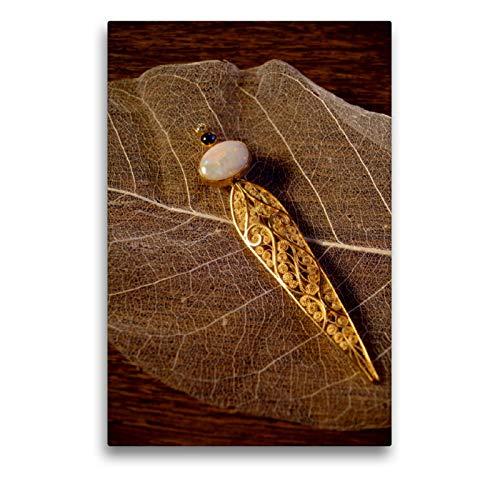 Premium Textil-Leinwand 50 x 75 cm Hoch-Format Gold ist unvergänglich Filigranschmuck | Wandbild, HD-Bild auf Keilrahmen, Fertigbild auf hochwertigem Vlies, Leinwanddruck von Ute Müller