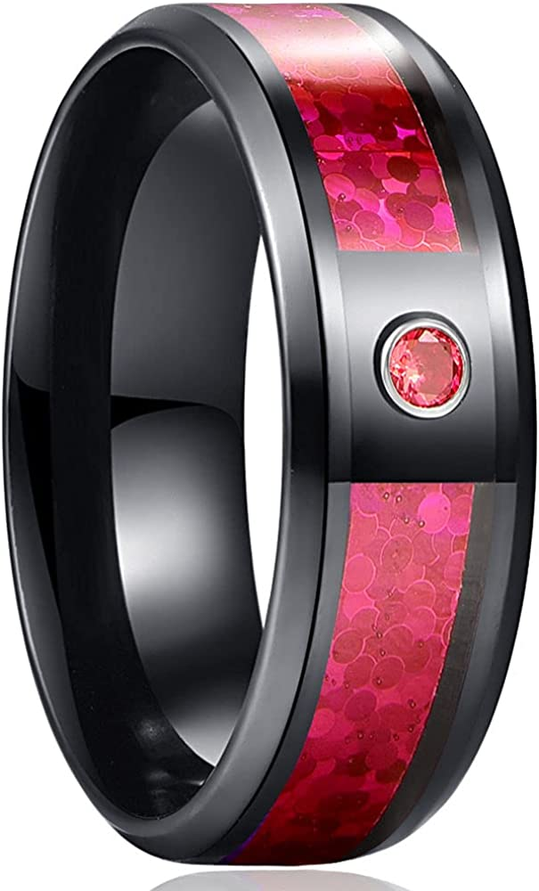 AJZYX 8mm Black Tungsten Carbide Rings for Men Engagement Wedding Bands Red Created Opal and Cubic Zirconia Inlay Beveled Edge Polished Comfort Fit Size 6-13