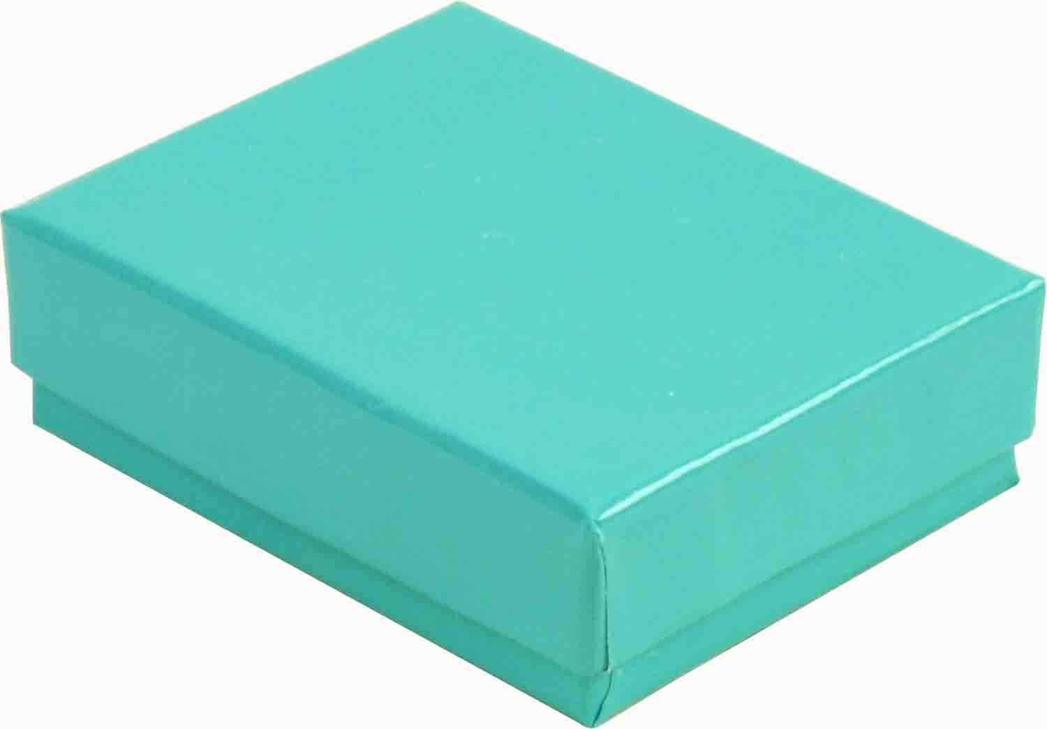 N'icePackaging - 50 Qty Teal Blue Imported Cotton Filled Cufflink Jewelry Boxes - for Large Rings/Cufflinks/Earrings/Lockets & Keepsakes - 2 5/8