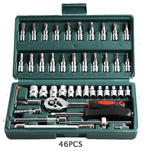 CLJ-LJ 46 PC/sistema de juego de llaves de carraca Multifunctionl Profesional mecánico de reparación Kit de herramientas de combinación con lleva la caja de reparación de automóviles