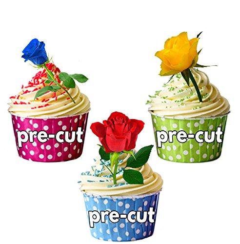 12 X Rose, Rouge, bleu, jaune, Rose, de fleurs décoratives comestibles en feuille de riz comestible pour gâteaux UPS Support pour carte