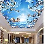 Deckenfresko Romantisch Blauer Himmel Weiße Wolken Kirschblüten Fototapete 3D Deckengemälde Wohnzimmer Thema Hotel Pastoral Dekor Tapete HD Wohnkultur