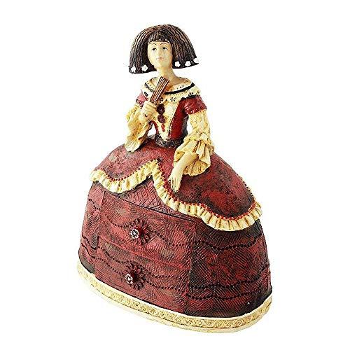 Tiendas LGP-Figura de Menina Decorativa en Resina, con Dos cajones para joyero, Tonos Granates, Decorada a Mano, 24 cm.