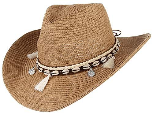 GEMVIE Sombrero Panamá de Playa Mujer Gorra de Sol Verano Caza Caqui