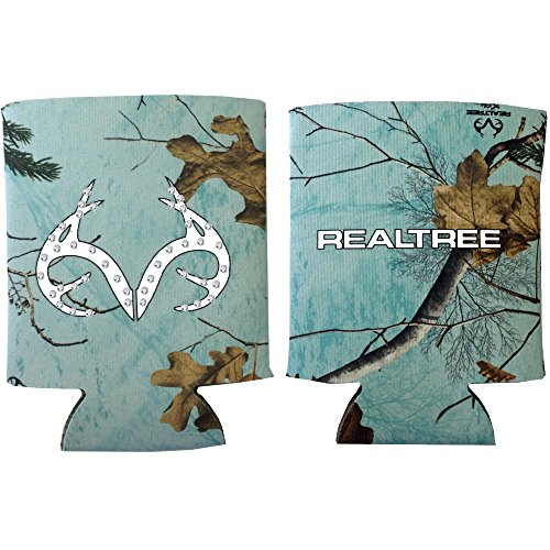 Realtree Outfitters Brand White Antler Logo with Gem Clear Crystals Drink Beer Water Soda Beverage Insulated Picnic Outdoor Party Beach BBQ Cooler Cover - 12oz Bling Mint Can Insulator