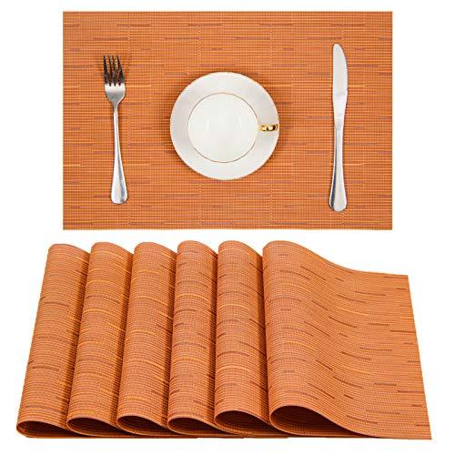 U'Artlines Placemats, Heat-Resistant Placemats Stain Resistant Anti-Skid Washable PVC Table Mats Woven Vinyl Placemats, Set of 6(6pcs placemats, Orange)
