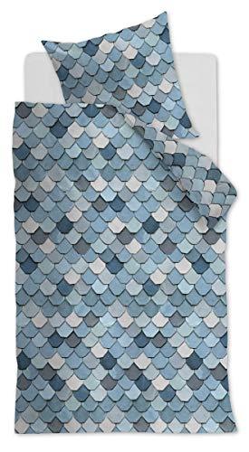At Home 174603 View Parure de lit 2 pièces en Coton renforcé avec taie d'oreiller 80 x 80 cm Bleu