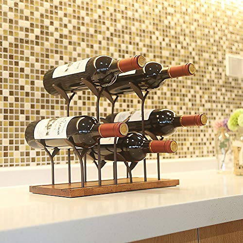 STONE Countertop Bottle Rack, Tabletop Wood Bottle Holder, Hold 6 Bottles, Perfect for Home Decor & Kitchen Storage Rack, Bar, Cellar, Cabinet, Pantry, etc, Wood & Metal (Bronze)